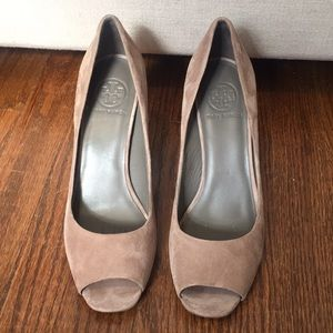 Open Toe suede Tory Burch heels